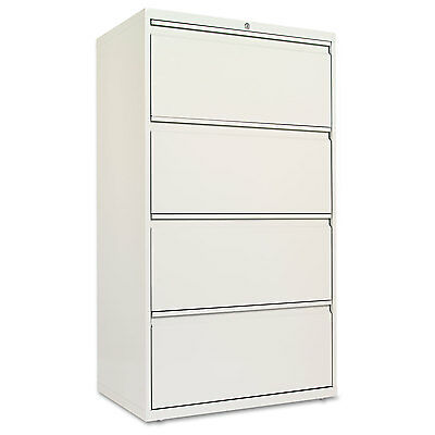 Alera Four-Drawer Lateral File Cabinet, 30w x 19-1/4d x 53-1/4h, Light Gray