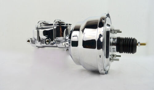 "7/"" STREET ROD SINGLE POWER BRAKE BOOSTER W// DUAL BOWL MASTER CYLINDER CHROME"