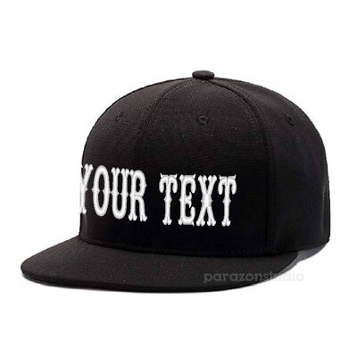 Custom Embroidered Personalized Text Logo Flat Bill Baseball Fitted Cap  Caps 101 | eBay