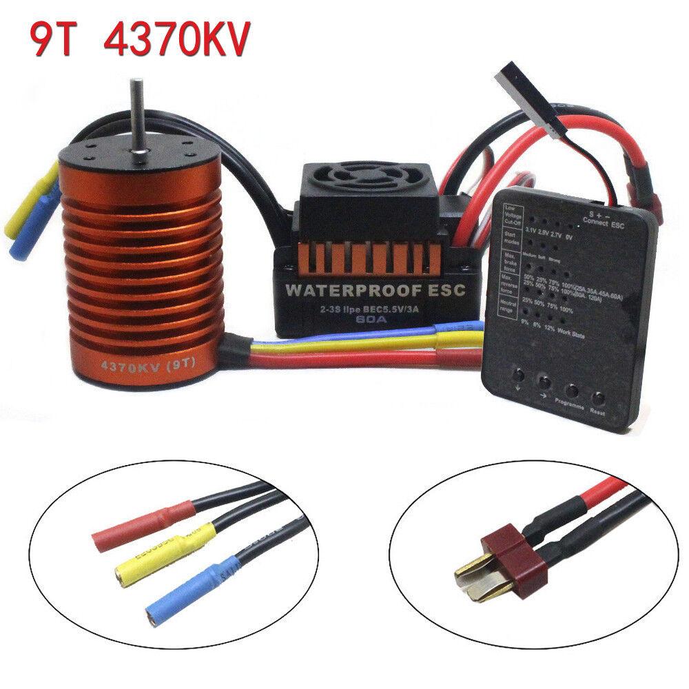9T 4370KV Brushless Motor+60A ESC Controller Combo+Program Card for 1 10 Car ME