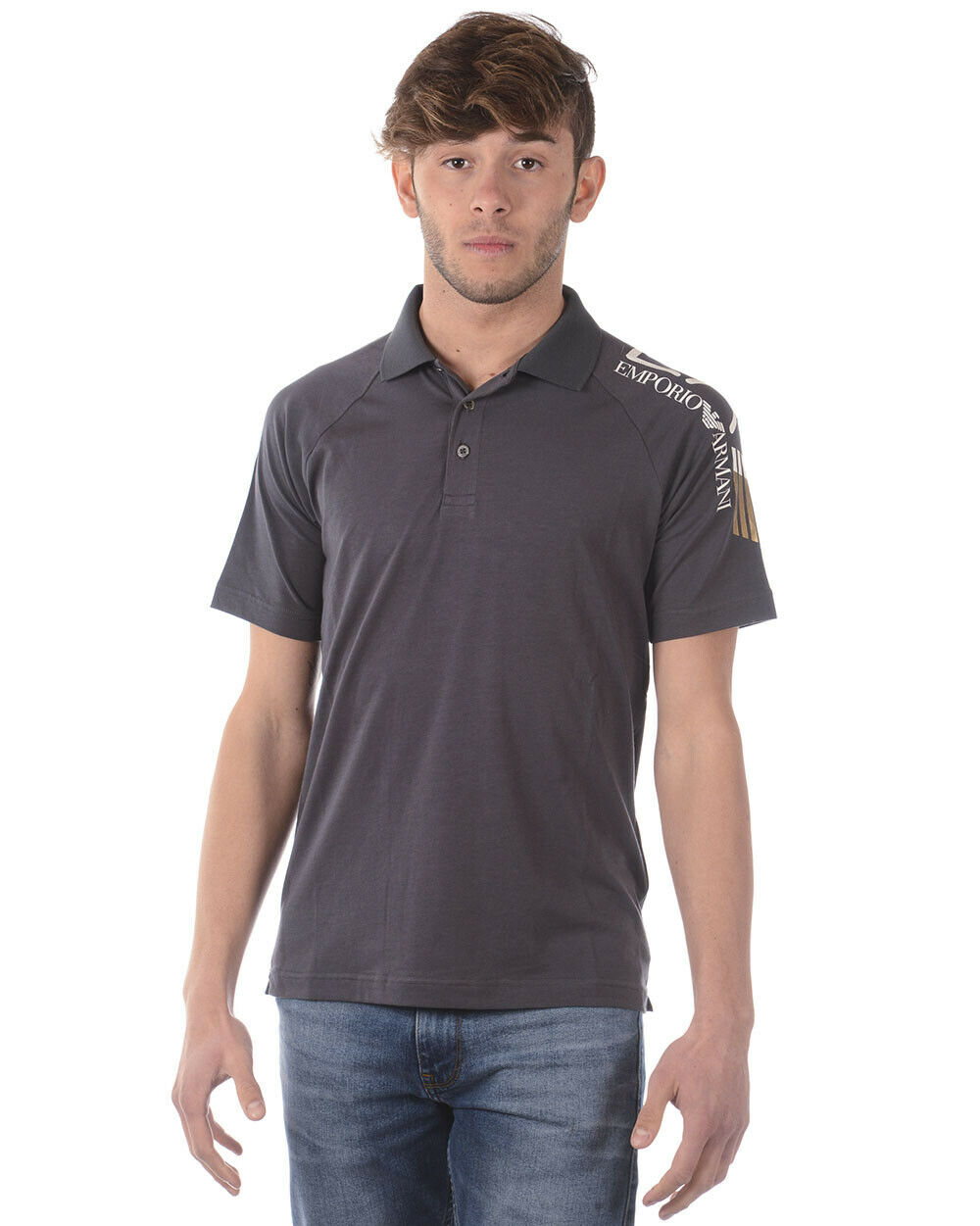 Emporio Armani EA7 Polo Shirt Cotton Man grau 3ZPF56PJ03Z 1994 Sz L MAKE OFFER
