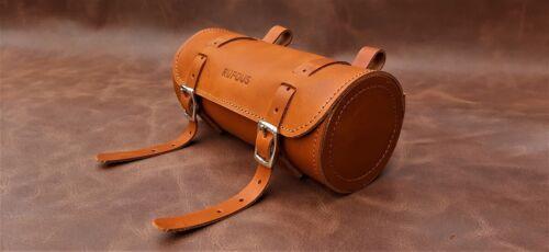 Bicycle Tool Bag vintage tan Genuine Leather Retro Bicycle Round saddle bag