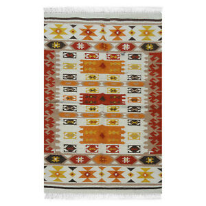 Hand-Woven-Geometric-4x6-Kilim-Turkish-Oriental-Area-Rug-Wool-Area-Rug-Carpet