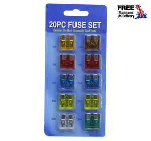 Paquete-De-20-HOJA-FUSIBLES-Fusible-de-recambio-Surtido-Estandar-Coche-Auto-Van-Fusible-Set
