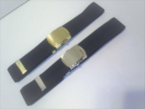 2 Pour £ 9 Noir élastique Pantalon Ceintures 1 or avec 1 Avec Chrome Couleur Boucle