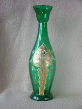 """ANTIQUE VICTORIAN BOHEMIAN GLASS ENAMEL VASE """"FLOWERS"""" ART NOUVEAU PERIOD"""