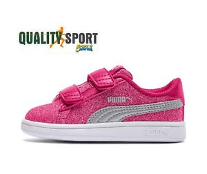Details about Puma Smash Glitter Glam Fuchsia Shoes Child Sports Sneakers 367378 03 show original title