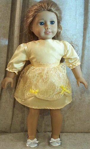 """Doll Clothes Made2Fit American Girl 18/"""" spring Skirt Blouse Overskirt Yellow 3pc"""