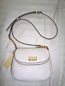 472ef7af98d6 NWT Michael Kors BEDFORD Flap Crossbody Bag Ecru Leather 38H6XBFC2L ...