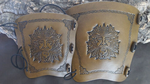 Celtic Wolves wolf leather archery bow arm guard bracer armguard larp pagan