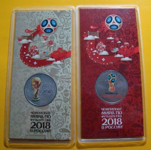 Russia 2017 25 Rubles 2018 FIFA World Cup Russia 3 colored coins in blisters