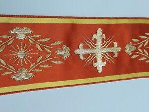 Orphrey-Croce-Design-Bendaggio-Metallico-Oro-su-Arancione-Vintage-Rayon-3-034