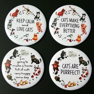 Cat-Lovers-Fridge-Magnet-Set-55mm-4pc-Gift-Crazy-Cat-Lady-Kittens-Decor
