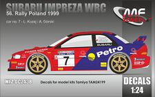 DECALS 1/24 SUBARU IMPREZA WRC - #7 - KUZAJ - RALLYE DE POLOGNE 1999 - DC2438