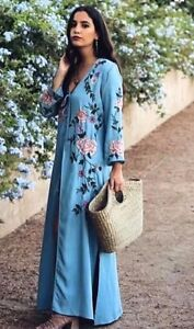 ZARA-EMBROIDERED-SEQUINED-KIMONO-KAFTAN-DRESS-KLEID-STICKEREI-PAILLETTEN-SIZE-M
