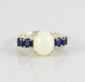 10k-Yellow-Gold-Ethiopian-Opal-and-Blue-Kyanite-Ring-Diamond-Accent-Size-7-1-2
