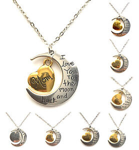 I-Love-You-To-The-Moon-And-Back-Gold-amp-Silver-Family-Necklace-Pendant-Heart-Gift