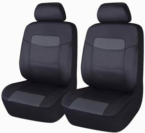Black-PU-Leather-2-Front-Car-Seat-Covers-Universal-Auto-Seats-Protector-Pair