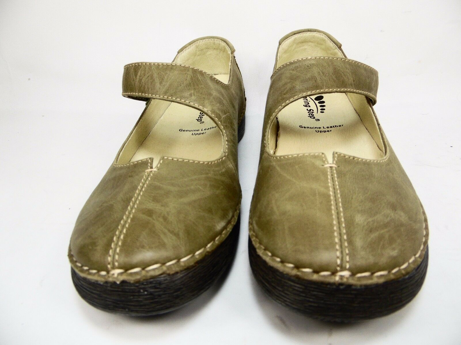 Spring Step Debutante Leather Mary Janes Olive Size 38(US:7.5-8) 38(US:7.5-8) Size 8991e5