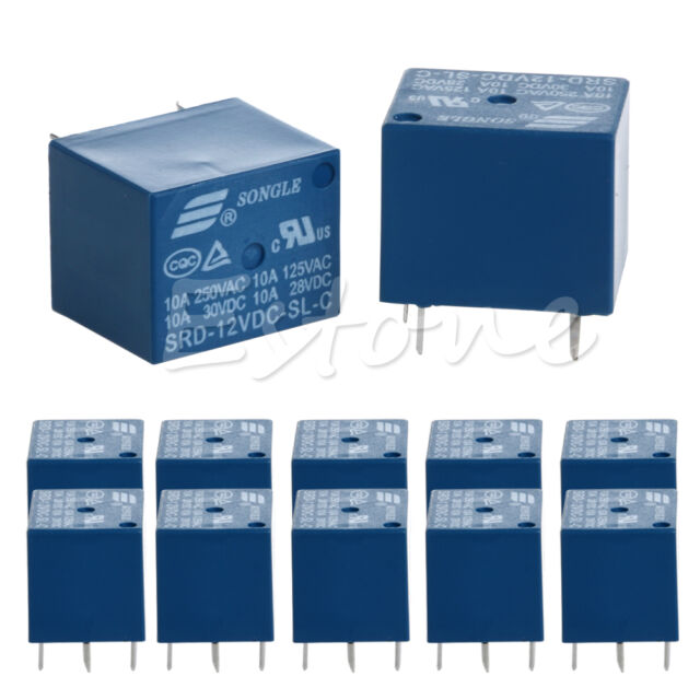 10pcs Power Relay 5 Pin SPDT SRD-12VDC-SL-C 10A 12V DC 250V AC