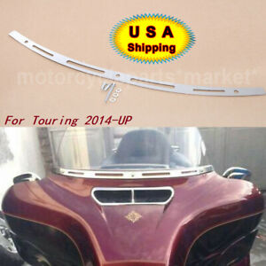 Chrome Stainless Steel Slotted Batwing Fairing Windshield Trim For Harley 14-up