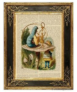 Alice-in-Wonderland-Art-Print-on-Vintage-Book-Page-Talking-to-Caterpillar-Color