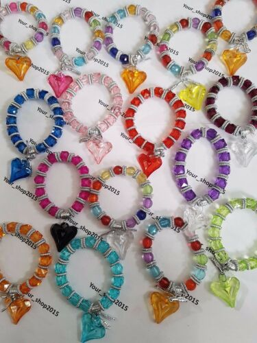 5 x Kids Children stretchable Bracelet Heart charm Great for party bag fillers