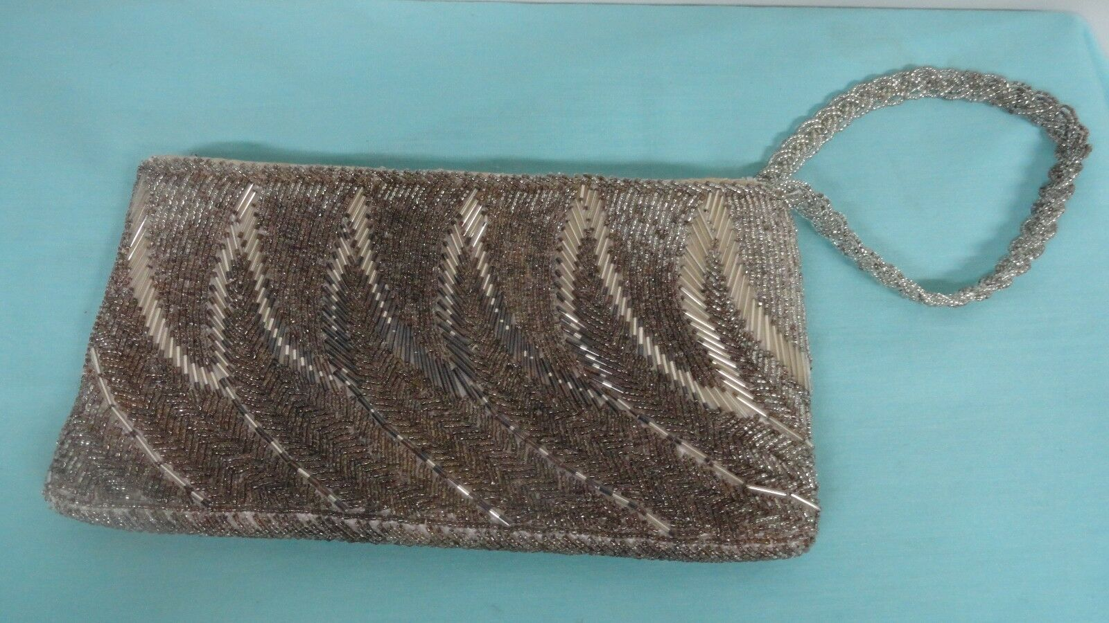 Vintage clutch hand bag silver Glass beads