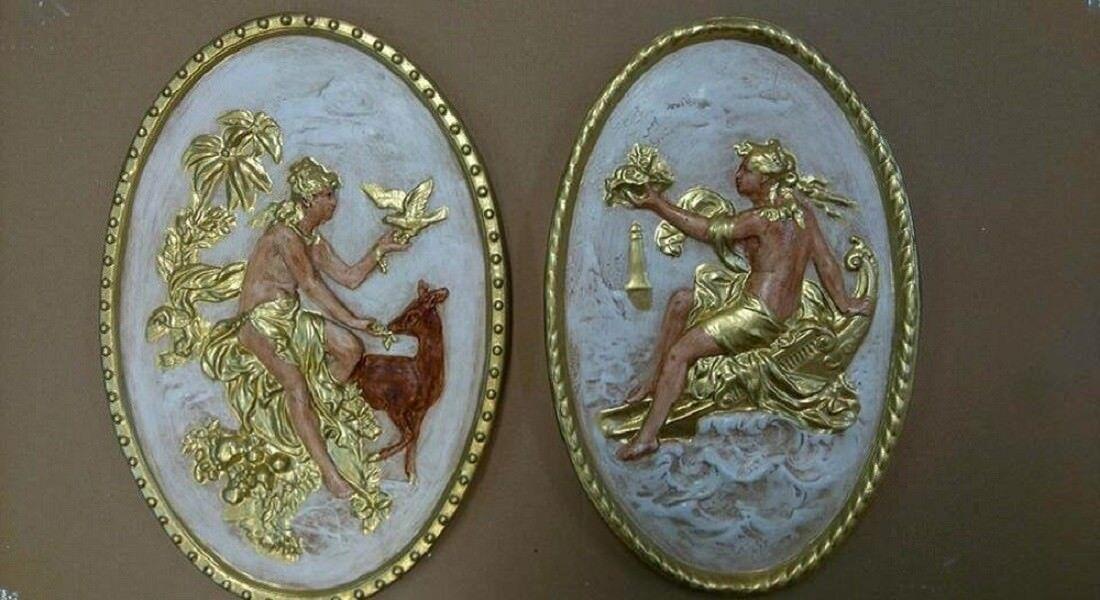 2 x relief griego diosa Teatro Escayola grande muro relief escultura Greek