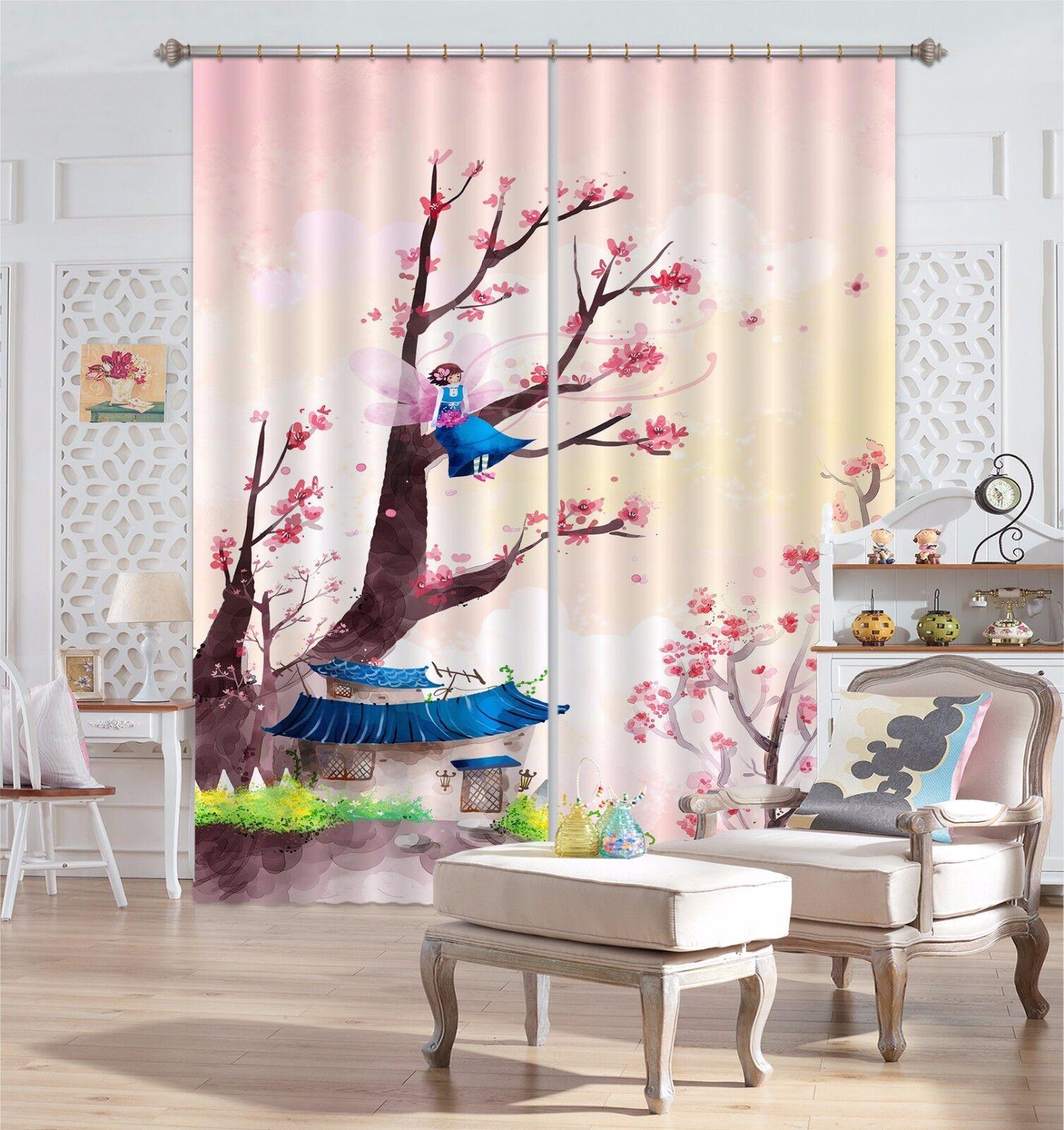Árbol de dibujos animados 3D 41 Cortinas de impresión de cortina de foto Blockout Tela Cortinas Ventana Reino Unido