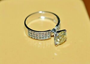 2.0CT Round Moissanite Engagement Wedding Ring For Women Sterling Silver 925