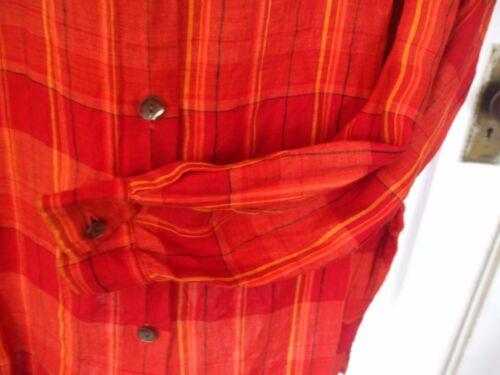 Plaid Deep L Size Orange Linen Long Classic Sleeved 100 Shirt Chico's Designs wFxABSB