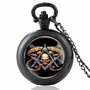 Antique-Freemasonry-Skeleton-Pocket-Watch-Quartz-Vintage-Masonic-Necklace-Chain