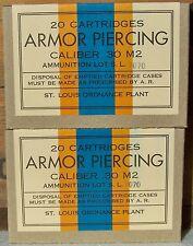 .30 M2 ARMOR PIERCING WW2 NEW REPLICA EMPTY 20 ROUND AMMO BOX (2 PCS)- ST. LOUIS