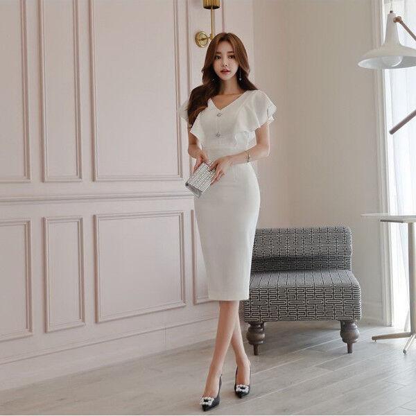 Elegant Dress Gown Sheath Dress Weiß Backless Sleeves Tight Slim Soft 4749