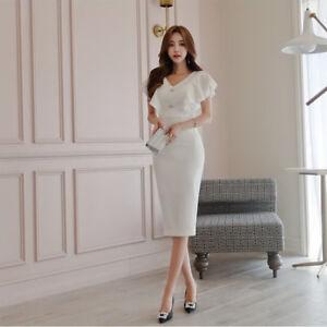 brand new 4839f 9f2a9 Dettagli su Elegante vestito abito tubino bianco scollato maniche aderente  slim morbido 4749