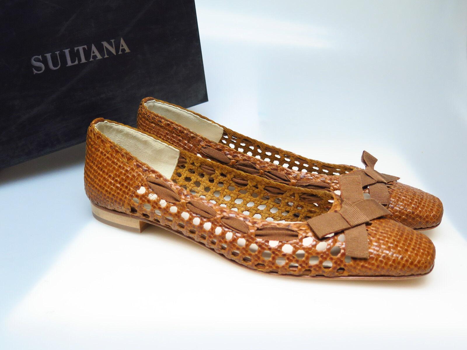 SULTANA Schuhe Designer Damenschuhe N3013 Tati Intreccio Oak Flecht Gr. 41,5 NEU