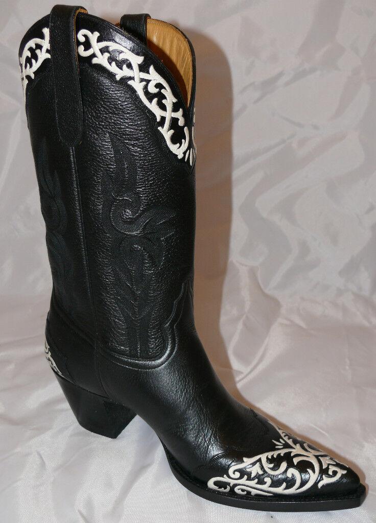 Woman's Liberty Cowboy Boots Enredadera Pita Black White Stitch Cowgirl REDUCED