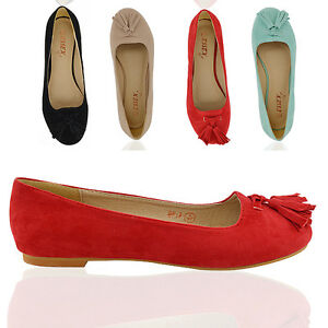 Womens Flat Tassel Loafers Slip Ladies Dolly Pumps Ofice Summer Shoes Size 3-8