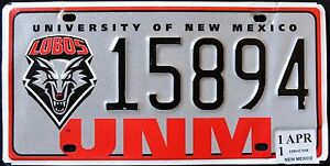 NEW-MEXICO-034-UNIVERSITY-OF-NM-GO-LOBOS-034-WOLF-Specialty-License-Plate