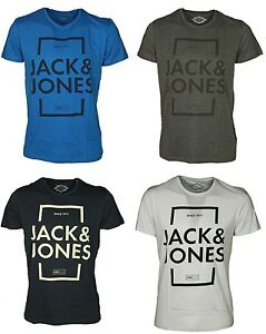 Jack-and-Jones-Para-hombre-Camisetas-Cuello-Redondo-Mangas-Cortas-Calce-Regular-Top-Casual-S-XL