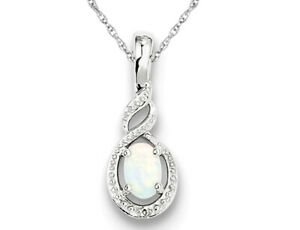 Created Opal Pendant Necklace 1/3 Carat (ctw) in Sterling Silver with Chain