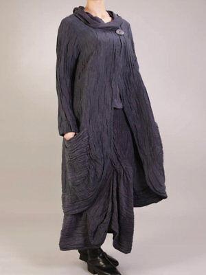 GRIZAS Gray or Black XXL XXXL 18 20 22 Silk Linen Long Elliptical Jacket NWT$319