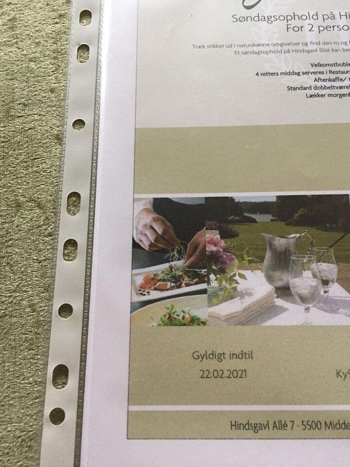Gavekort til Hindsgavl slot, se foto, værdi 235...