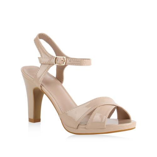 Damen Abiball Riemchensandaletten Stiletto Hochzeit Lack High Heel 821791 Schuhe