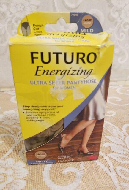 48b0989d662 FUTURO Energizing Ultra Sheer Pantyhose for Women  French Cut Lace Panty  Large