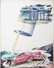 CLEAVER-Original Signed Watercolor-Surreal Pop-Art-1940s Car & Oil Well