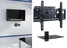 "New TV Wall Mount with Single Glass Shelf Unit Supports Screen Sizes 30"" to 85"""