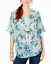 Style/&co Swing Top Blouse Green Floral Bell Sleeves Size 3X Plus $59 NEW PL7