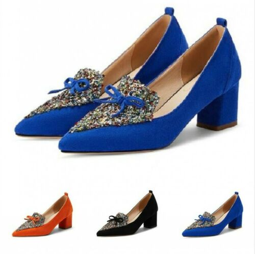 Details about  /3 Colors Women Smart Work Office OL Casual Slip On Pointed Chunky Heel Shoes D
